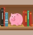 piggy bank on bookshelf vector image