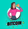pop art pretty woman holding golden bitcoin coin vector image vector image