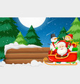 santa claus with wooden banner vector image vector image