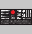 set black pen ink brush strokes grunge ink brush vector image vector image