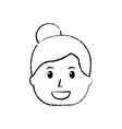 smiling woman character bun hair style vector image