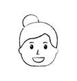 smiling woman character bun hair style vector image vector image