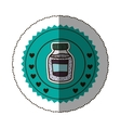 sticker color round frame with bottle with salt vector image vector image