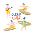 surfing guys on surfboards catching waves in vector image