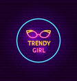trendy girl neon sign vector image vector image