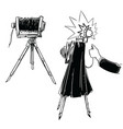 vintage camera on tripod vector image