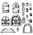 vintage set of silhouettes of doors vector image