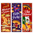 viva mexico banners with mexican fiesta party food vector image vector image
