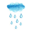 watercolor cloud and rain drops vector image