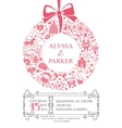 Wedding invitation with wreath compositionFlat vector image