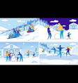 winter outdoor activity and family recreation set vector image vector image