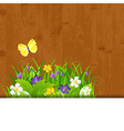 Wood Background With Leaves And Flower vector image vector image