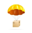 Yellow parachute with cardboard box on a white vector image vector image