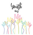 youth day diverse teen hands greeting card vector image