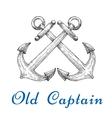 Heraldic sketch of crossed nautical anchors vector image
