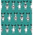 Seamless pattern of funny sketch deers vector image