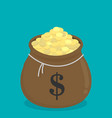 moneybag with gold coins flat isolated on color vector image