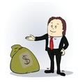 Business man with sack of money vector image