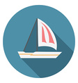 Flat design modern of sailing boat icon with long vector image