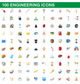 100 engineering icons set cartoon style vector image vector image