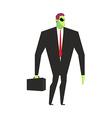 Alien businessman UFO boss Martian in business vector image