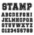 alphabet font black stamp design vector image vector image
