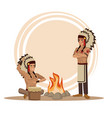 american indians cartoon vector image vector image