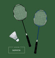 badminton racket and shuttlecocks sketch vector image vector image