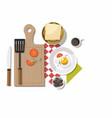 breakfast table with healthy tasty ingredients vector image vector image
