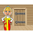 cartoon girl in Russian national dress talking on vector image