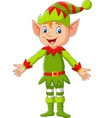cartoon happy christmas elf presenting vector image vector image