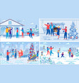 christmas and new year holidays celebration set vector image vector image