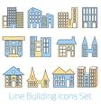Colored line Building Icons Set vector image vector image