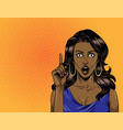 comic surprised beautiful african american girl vector image
