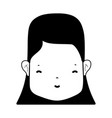 contour woman face with hairstyle and expression vector image vector image