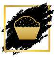 cupcake sign golden icon at black spot vector image vector image