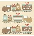 Cute vintage christmas steam train with gifts vector image vector image