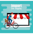 delivery worker in bicycle character vector image vector image