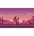 Desert wild cartoon landscape in sunset with vector image