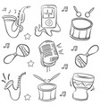doodle music element hand draw vector image vector image