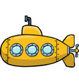 doodle yellow submarine vector image