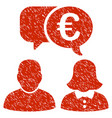 euro chat icon grunge watermark vector image vector image