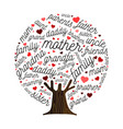 family tree made of love heart shape concept vector image