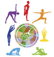female yoga silhouettes yoga studio logo vector image