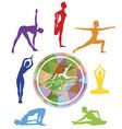 female yoga silhouettes yoga studio logo vector image vector image