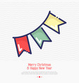 garland flags thin line icon vector image