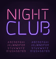 glowing club font purple and pink neon vector image