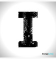 grunge letter i black font sketch style symbol vector image