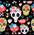 halloween pattern with decorative skulls vector image vector image