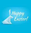 happy easter with an origami rabbit vector image vector image